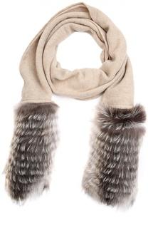 Кашемировый шарф с отделкой из меха Inverni