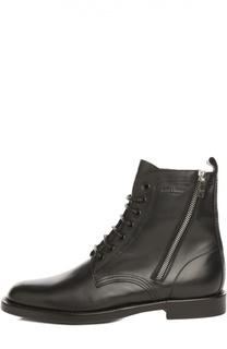 Кожаные ботинки Combat на шнуровке с молнией Saint Laurent