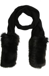 Кашемировый шарф с отделкой из меха лисы Inverni