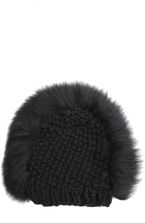 Вязаная шапка с отделкой из меха лисы Gigi Burris Millinery