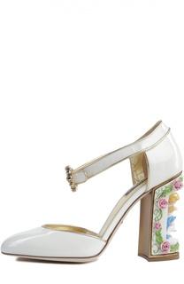 Лаковые туфли Vally на фигурном каблуке Dolce & Gabbana