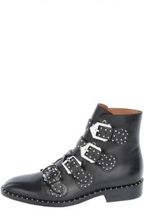 Кожаные ботинки с ремнями и заклепками Givenchy