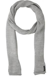 Вязаный шарф с логотипом бренда Armani Jeans