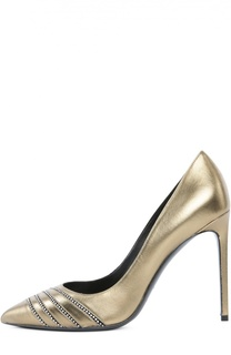 Кожаные туфли Paris со стразами Saint Laurent