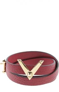 Кожаный браслет с логотипом бренда Valentino