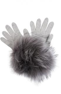 Вязаные перчатки с отделкой из меха енота Bruno Carlo