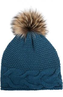 Вязаная шапка с помпоном из меха Artiminesi