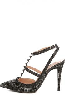 Кожаные туфли Camounoir со стразами Valentino