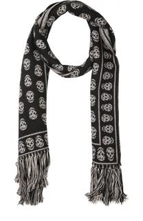 Шерстяной шарф с узором в виде черепов Alexander McQueen