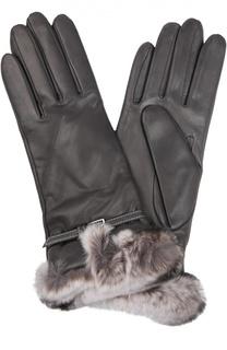 Кожаные перчатки с отделкой из меха кролика Sermoneta Gloves