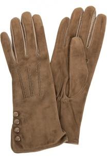 Замшевые перчатки с отделкой из кожи Sermoneta Gloves