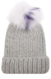 Шерстяная шапка крупной вязки с помпоном из меха песца Eugenia Kim