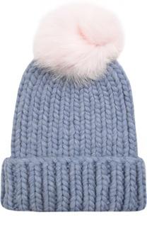Шерстяная шапка крупной вязки с меховым помпоном Eugenia Kim