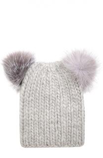 Шерстяная шапка с помпонами из меха песца Eugenia Kim