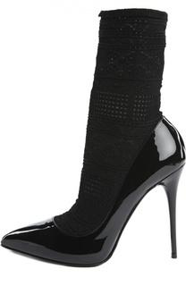 Лаковые туфли с текстильной вставкой Alexander McQueen