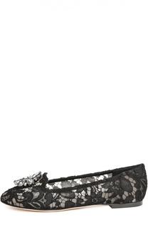 Кружевные лоферы Rainbow Lace с брошью Dolce & Gabbana