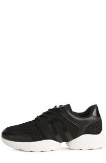 Комбинированные кроссовки на контрастной подошве DKNY