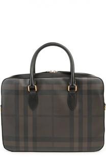 Кожаный портфель в клетку Smoked Check Burberry