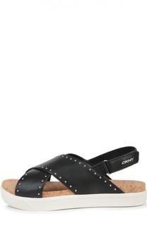 Кожаные сандалии с заклепками DKNY