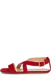 Замшевые сандалии с фигурным вырезом Chloé