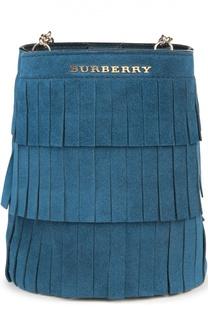 Замшевая сумка Baby Bucket с бахромой Burberry