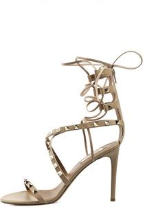 Кожаные босоножки Rockstud на шнуровке Valentino
