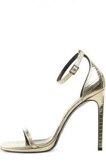 Босоножки Jane из металлизированной кожи Saint Laurent
