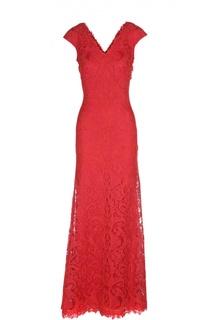Кружевное платье в пол с V-образным вырезом Tadashi Shoji