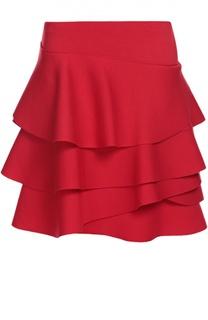 Асимметричная мини-юбка с оборками DKNY
