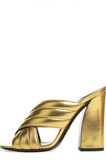 Сабо Sylvia из металлизированной кожи Gucci