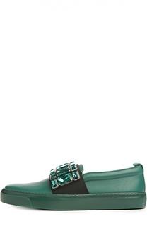 Кожаные слипоны Litho с кристаллами Gucci