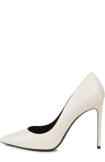 Кожаные туфли Paris Skinny с тиснением Saint Laurent