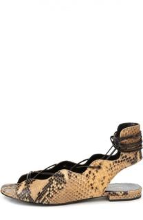 Кожаные сандалии Nu Pied на шнуровке Saint Laurent