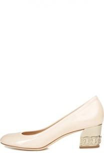 Лаковые туфли на устойчивом каблуке Casadei