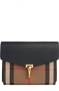 Кожаная сумка Macken small с отделкой из клетчатого текстиля Burberry