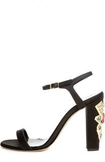 Атласные босоножки на декорированном каблуке Oscar de la Renta