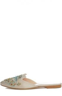 Шлепанцы Patrizia с вышивкой бисером Oscar de la Renta
