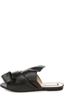 Кожаные шлепанцы с декоративным узлом No. 21