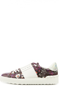 Кожаные кроссовки Open с принтом Valentino