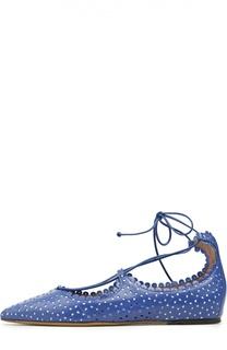 Кожаные балетки Willa с перфорацией Tabitha Simmons