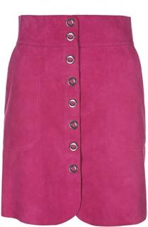 Замшевая юбка на металлических кнопках с широким поясом Lanvin