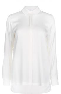 Шелковая блуза с удлиненной спинкой и плиссировкой DKNY