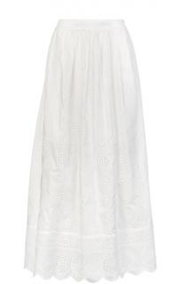 Хлопковая юбка макси с вышивкой и широким поясом Blugirl