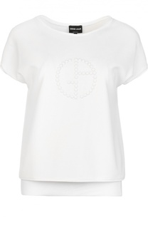 Топ с круглым вырезом и вышитым бусинами логотипом бренда Giorgio Armani