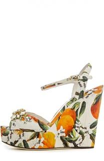 Парчевые босоножки Bianca на танкетке Dolce & Gabbana
