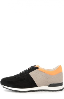 Замшевые кроссовки color block Kiton