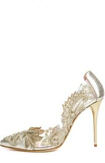 Кожаные туфли Alyssa с вышивкой Oscar de la Renta