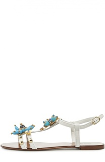 Кожаные сандалии с декором Dolce & Gabbana