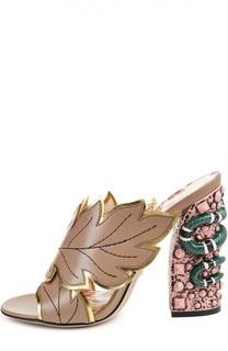 Кожаные сабо на декорированном каблуке Gucci