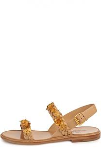 Кожаные сандалии Garden Party с аппликациями Valentino